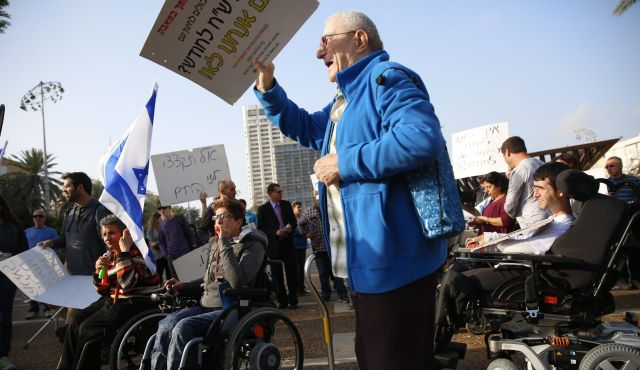 מחאת הנכים (צילום: דודו בכר)